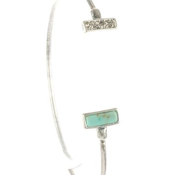 Turquoise Natural Stone Wire Cuff Bracelet