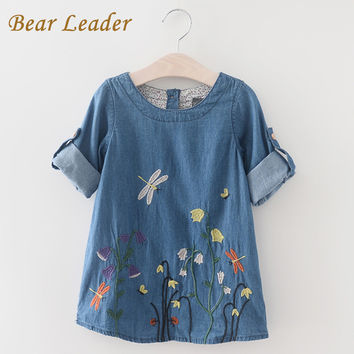 Bear Leader Girls Denim Dress 2016 Children Clothing Autumn Casual Style Girls Clothes Butterfly Embroidery Dress Kids Clothes