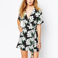 Glamorous Wrap Front Tea Dress in Cluster Floral Print