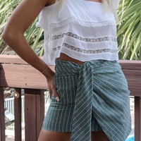 Give To You Sage Striped Wrap Skirt