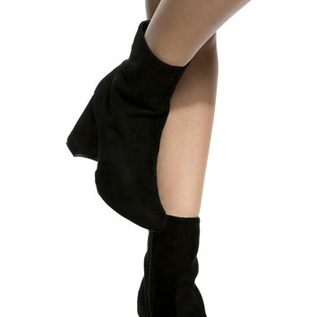 Black Faux Suede Chunky Ankle Booties @ Cicihot Heel Shoes online store sales:Stiletto Heel Shoes,High Heel Pumps,Womens High Heel Shoes,Prom Shoes,Summer Shoes,Spring Shoes,Spool Heel,Womens Dress Shoes
