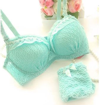 2016 new sexy cute A B cup women bra set 32A 34A 36A 32B 34B 36B push up young girl fashion lingerie underwear