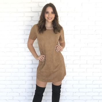 City Streets Suede Shift Dress in Camel