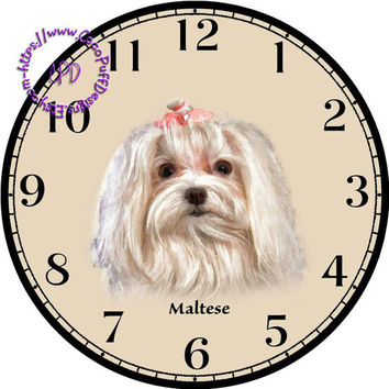 """White Long Haired Maltese Dog Art - -DIY Digital Collage - 12.5"""" DIA for 12"""" Clock Face Art - Crafts Projects"""