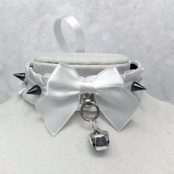"""PREMADE 12"""" White Spiked Collar with Rhinestones- Choker Luxury Kittenplay Petplay BDSM Collar, Bondage Tug Proof, DDLG Submissive"""