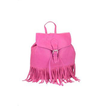 Ladies Genuine Pink Leather Drawstring and Buckle Flap Backpack with bottom fringes 2-509-5E-PNK