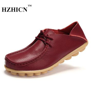 Big Szie Mother Shoes Genuine Leather Shoes for Women Casual Loafers Fashion Oxfords L