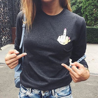 Print Finger Long Sleeve T-shirts [9688307343]