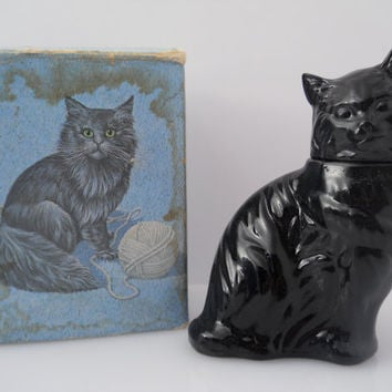 Avon Bottle Black Glass Kitten Little With Box c 1970s