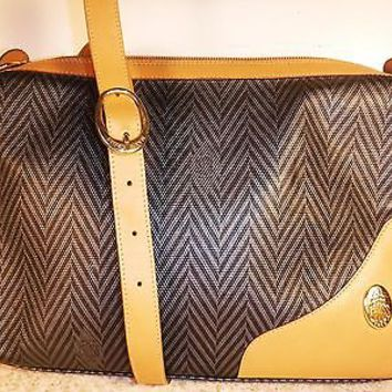 Mark Cross Crossbody bag Herringbone leather  Black Gray Vintage Purse Worn 1x