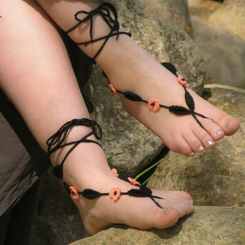 BAREFOOT SANDALS Crochet Black Coral Nude Summer by NATgirona
