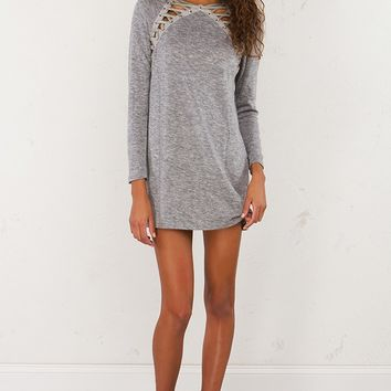 Lace Up Long Sleeve Dress in Black and Grey