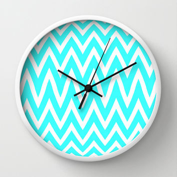 Mint zig Zag Wall Clock by  Alexia Miles photography