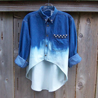 90s grunge studded womens high low denim shirt oversized long sleeve tunic dip dye ombre bleached blue denim redesigned fishtail hem
