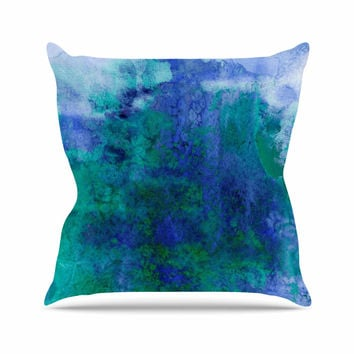 "Ebi Emporium ""Epoch 2"" Blue Teal Outdoor Throw Pillow"