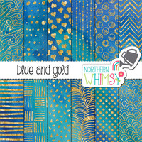Blue Watercolor Digital Paper - gold foil hand drawn patterns on blue watercolor backgrounds - blue & gold scrapbook paper - commercial use
