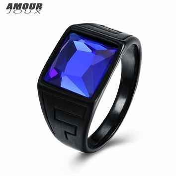 AMOURJOUX Vintage Pattern Black Gold Color Band Blue Square Glass 316L Stainless Steel Wedding Rings For Men Male Party Ring