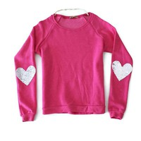 Sequin Heart Elbow Patch Sweatshirt - Pink Jumper with Silver Sequin Elbow Patches