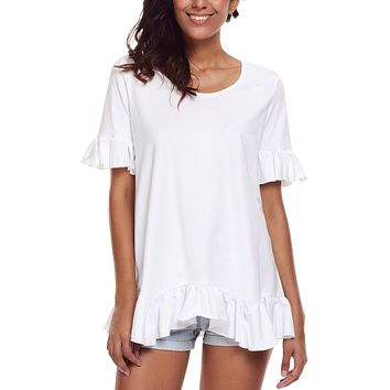 White Ruffle Trim Short Sleeve Flowy Top