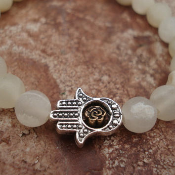 Hand of Fatima Bracelet with White Italian Onyx , For Her