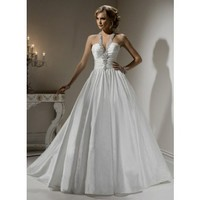 Fashionable Halter Dropped waist Taffeta wedding dress