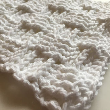 White Basket Weave Dishcloth, Crochet Washcloth, Cotton Dishcloth, Textured Dishcloth