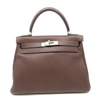 Auth Hermes Kelly 28 SHW Satchel Bag SHW Togo Leather Chocolat/Brown 8743