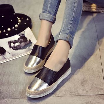 Fashion Loafers Leather Shoes Men Mixed Color Glitter Gold Silver Espadrilles Straw Knitting Fisherman Shoes Slip On Flats Soft