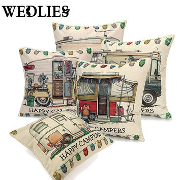 Pillows Case Cover Happy Campers Cut Bus Home Linen Square Throw Invisible Zipper Design 5 Styles
