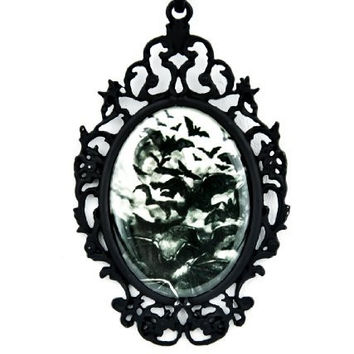 Swarm of Vampire Bats Necklace Under a Full Moon