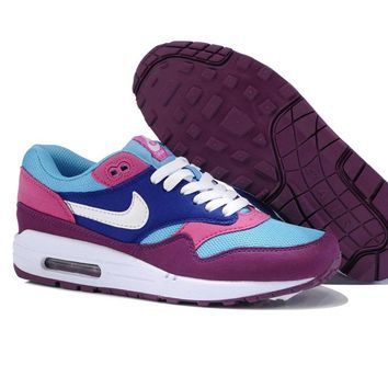NIKE AIR MAX 1 Anniversary Fashion Leisure Sports Shoes Women Men Contrast Sneakers B-A-QDSK-Buy Micro Purple/Blue