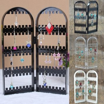 1PC Trendy Stand Screen Jewelry Display Storage Rack Plastic Necklace Organizer Earring Holder Creative