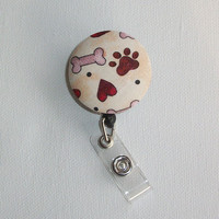 Retractable ID Badge Holder Reel - Fabric Button - for the love of DOGS