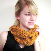 Crochet Infinity Scarf Pumpkin Spice Honey Gold Circle Cowl Scarf