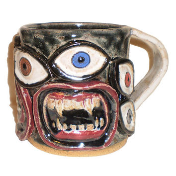Eye Coffee Cup (25) - Handbuilt slab mug with pattern of molded eyes and mouths
