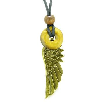 Guardian Angel Wing Protection Magic Powers Amulet Lucky Donut Charm Tiger Eye Pendant Necklace