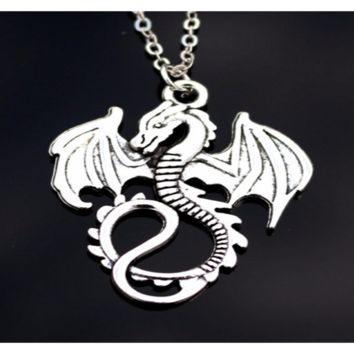 Love Vintage Silver Plated Monster Dinosaur Necklace For Women