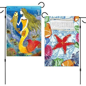 JoyPlus Welcome Summer Garden Flag Set of 2 (Sea Starfish, Mermaid) - Vertical Double Sided Summer Decorative Rustic House Small Decor Flags Set for Indoor, Outdoor Decoration, 12 X 18 Inch