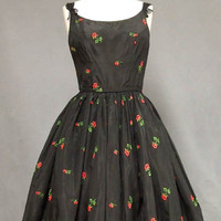 Lovely Embroidered Black Taffeta 1950's Cocktail Dress