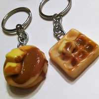 Breakfast Pancake & Waffle Key Chain Set, Polymer Clay, BFF, Food Accessories