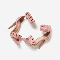 Florence Frill Detail Heel In Blush Faux Suede
