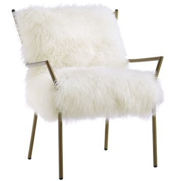 Uma Rose Gold Sheepskin Accent Chair