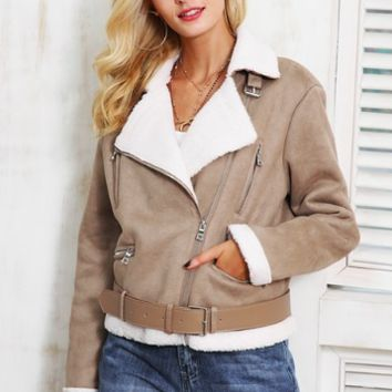 CROPPED SUEDE JACKET WITH LAMB FUR COLLAR