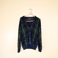 Men's Vintage Plaid Green and Blue Cardigan Jos A Bank Preppy Large