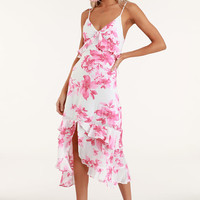 Island Time Pink and White Floral Print Ruffled Midi Dress