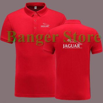 DCCKKFQ Jaguar 4S car logo shop POLO shirt short sleeve overalls work clothes for men and women