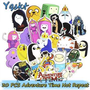 30 Pcs Adventure Time Stickers for Luggage Laptop Bike Skateboard Motorcycle Car Styling Decals Cool  PVC Waterproof Sticker