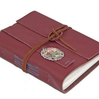 Burgundy Leather Journal with Auto Cameo Bookmark  - Ready To Ship
