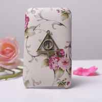 Deathly Hallows Harry Potter Flower Pattern Hard Case/Cover for iPhone 3 Case/Cover, iPhone 3gs Case,to iPhone Cases 3,3gs,Apple