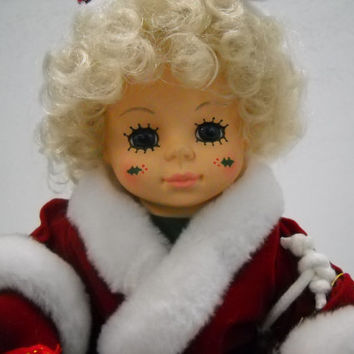 1988 Brinn's Collectible Christmas December Calender Clown Doll And Stand